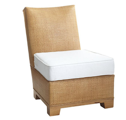 Caned rattan slipper chair with loose upholstered cushion - Wisteria via Atticmag