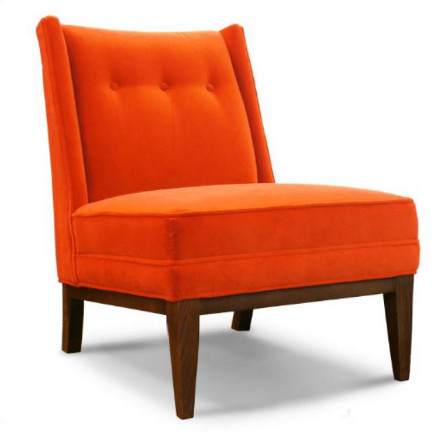 Morrow custom slipper chair in tangerine velvet on walnut base by Jonathan Adler – Digs Showroom via Atticmag