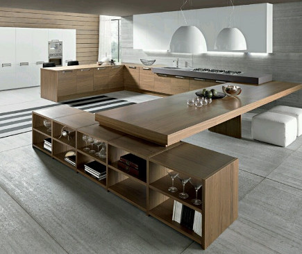 4 Unusual Kitchen Ideas - Kitchen counter that doubles as dining table aimecescuisines via Atticmag