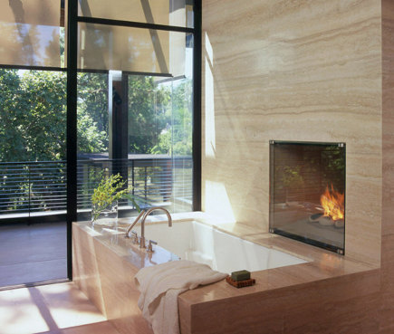 Bathroom Fireplace   Master Bath With Fireplace In Travertine Wall Above  The Tub   Williamhefnerdesign Via Part 42