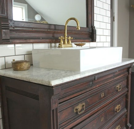 Eastlake dresser bathroom vanity - chicdesigninvestments via atticmag