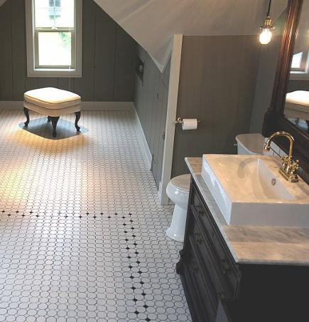 Eastlake dresser bathroom vanity in a renovated attic bath - chicdesigninvestments via atticmag