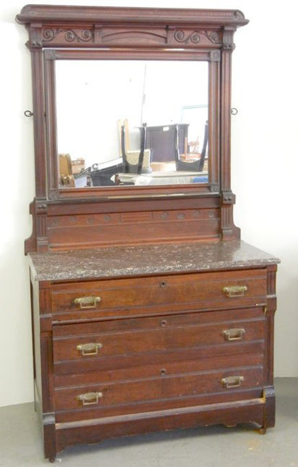 Eastlake washstand with marble and integral mirror - liveauctioneers via atticmag