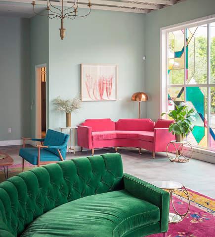 mixed color decor in velvet upholstered furniture - stylebyemilyhenderson via atticmag
