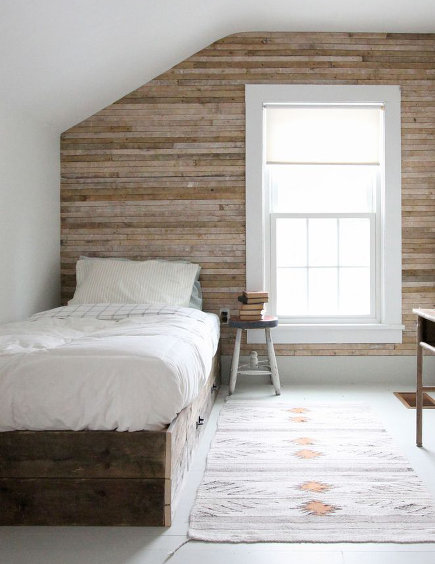 Attic Bedroom Accent Wall   Bedroom With Horizontal Wood Plank Wall    Redcottageinc Via Atticmag