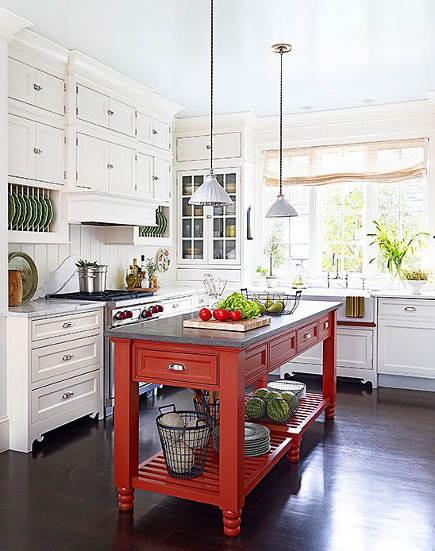Updating White Kitchens   White Kitchen With John Boos Red Grazzi Kitchen  Island   Bhu0026g Via