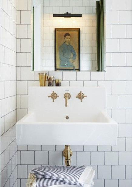Vintage brass bathroom fixtures Mandy Milk us master bath with Duravit sink and Kohler Purist brushed bronze