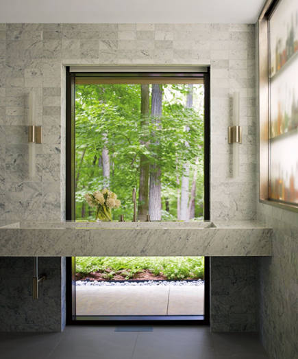 bathroom window wall in a New Caanan, Ct home by Specht Harpman - AD via Atticmag