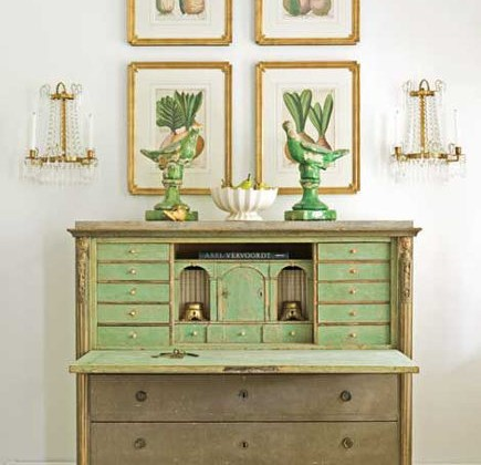 green accents in the interior of a painted Swedish secretary - Tone on Tone via Atticmag