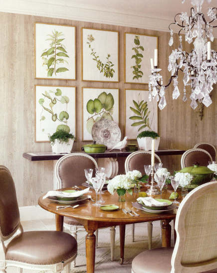 green accents from botanical prints and tableware in a traditional dining room - Veranda via Atticmag