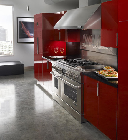 contemporary red kitchens - Jenn Air appliances marry well with red - behance.net via atticmag