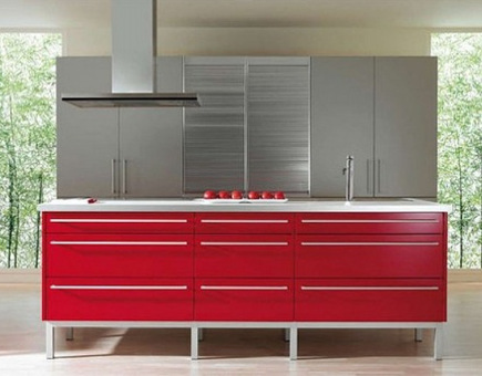 contemporary red kitchens - minimalistic red Spanish xey cabinets on a colorful island with low-profile appliances and architectural hardware - decoestilo.com