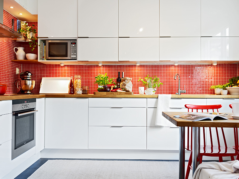 Sink Wall Of White Swedish Kitchen With Red Backsplash In Gl Mosaic Tile Stadshem