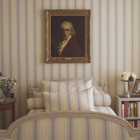 single pattern rooms - London bedroom done in mattress ticking fabric - Mlinaric, Henry and Zervudachi via Atticmag