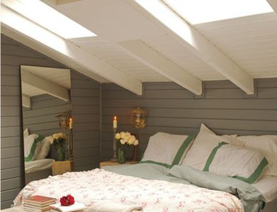 attic skylight bedroom - cottage style bedroom with working shaded skylight windows - tumblr via atticmag