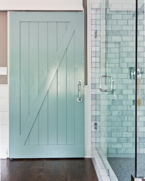 bathroom barn doors   blue painted half buck wood slider on the inside of a. Bathroom Barn Doors   Atticmag