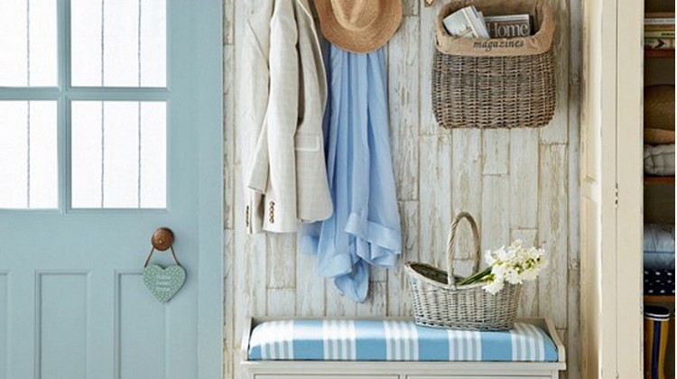 colorful mudrooms - cottage mudroom with bright blue accents similar to Benjamin Moore's Skylark Song - House to Home via Atticmag