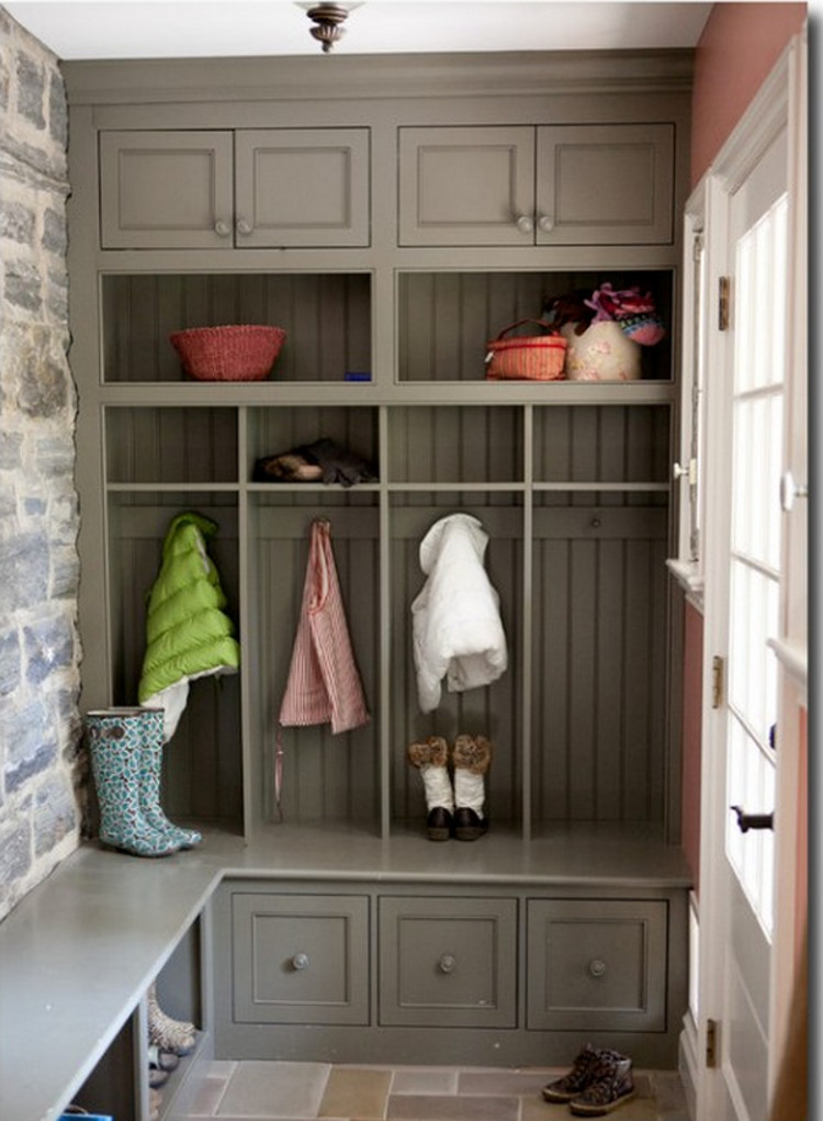 colorful mudrooms - entry in a restored house with a stone wall and woodwork done in Sherwin Williams Zeus, a taupe - Greenable via Atticmag