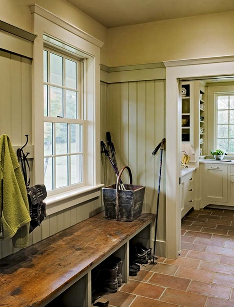 colorful mudrooms - New Hampshire Farmhouse mudroom in an acid green close to Benjamin Moore's Central Park 431- Smith & Vansant via Atticmag