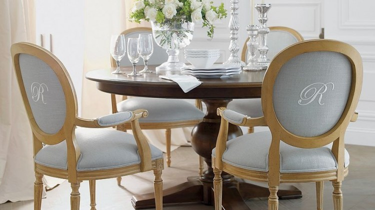 monogrammed chair backs - contrast monogram on oval back arm chairs - vtinteriors via atticmag