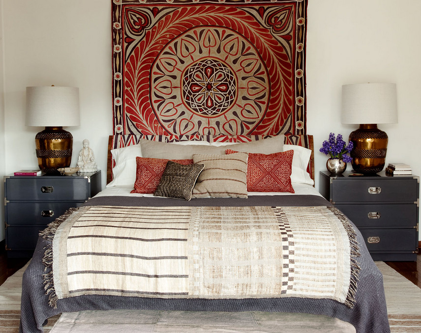 bedroom - Asian inspired textiles in a bedroom by Martin Lawrence Bullard via Atticmag