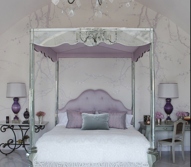 bedrooms - Sharon Osbourne's bedroom with a glass and lavender canopy bed - Martin Lawrence Bullard via Atticmag