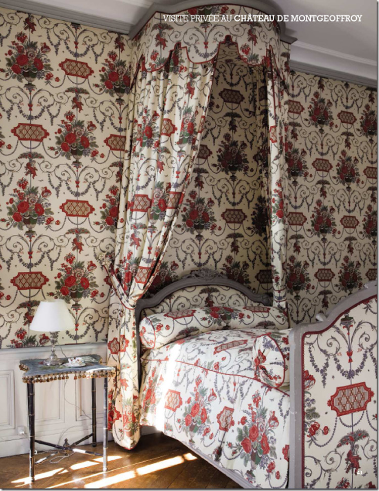 single pattern room - Chateau de Montgeoffroy bedroom done in Braquenié Aix en Provence fabric - Cote de Texas via Atticmag