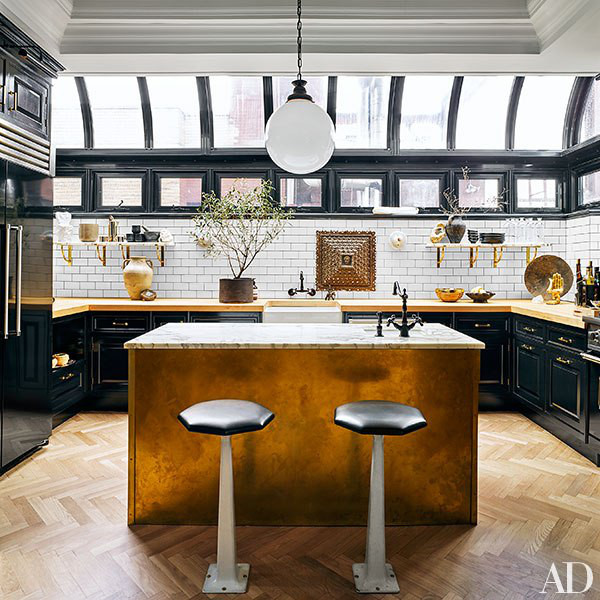 greenhouse kitchen - after Nate Berkus and Jeremiah Brent's renovated NYC  black and white