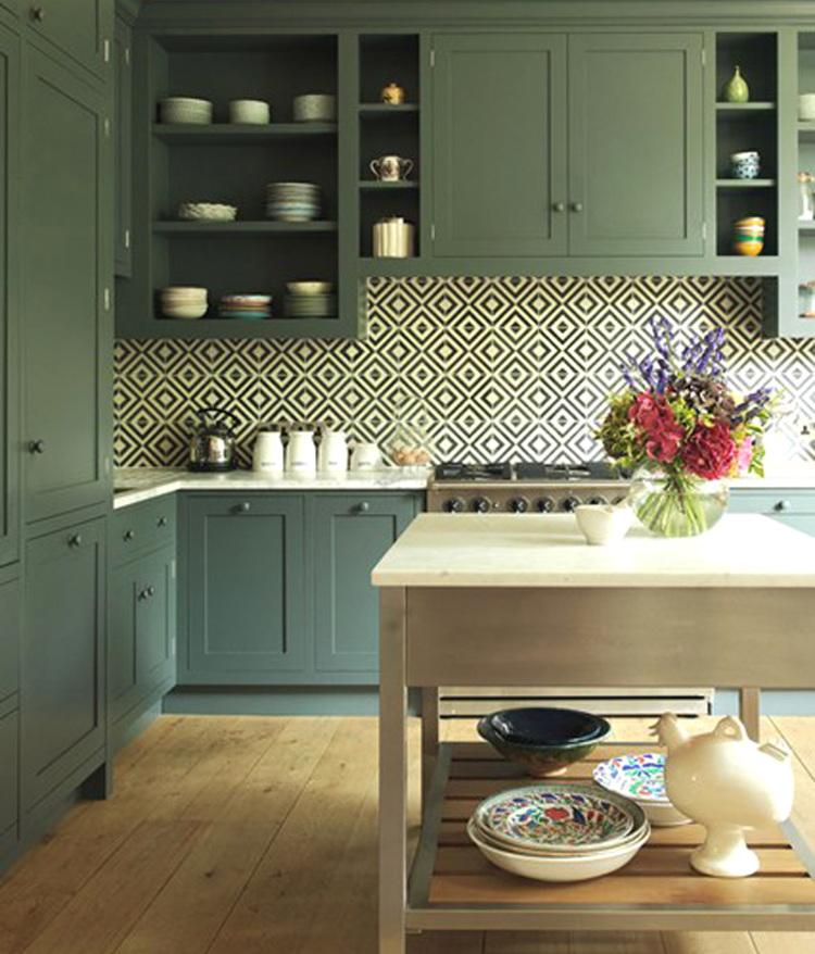 geometric tile - black and white geometric tile pattern in an English  kitchen with dark gray - Geometric Tile Kitchen Backsplash - Atticmag