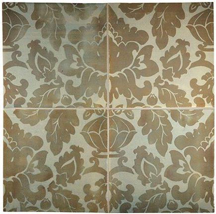 damask tile - Tiepolo tileworks damask pattern tile - Complete Tile via Atticmag