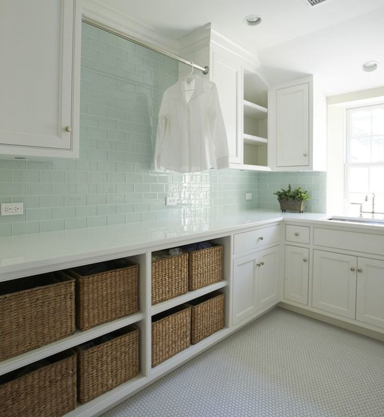 Perfect Laundry Room Baskets   Elegant White Laundry Room With Pale Green Glass  Wubway Tile And Open