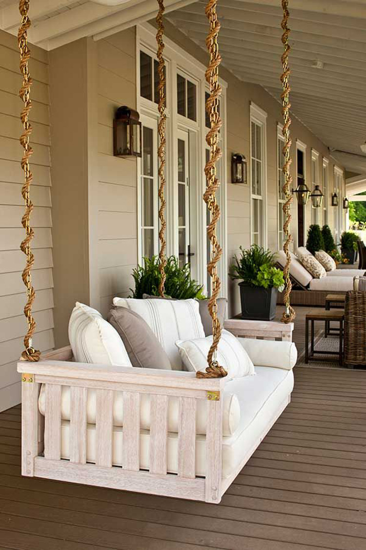 Outdoor Home Décor Ideas   Whitewashed Swinging Porch Bed   Southern Living  Via Atticmag