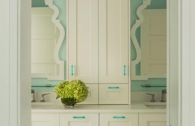 green bathrooms - sea green girls bath with green tile floor and green vanity cabinet pulls - LDA Architecture an Interiors via Atticmag