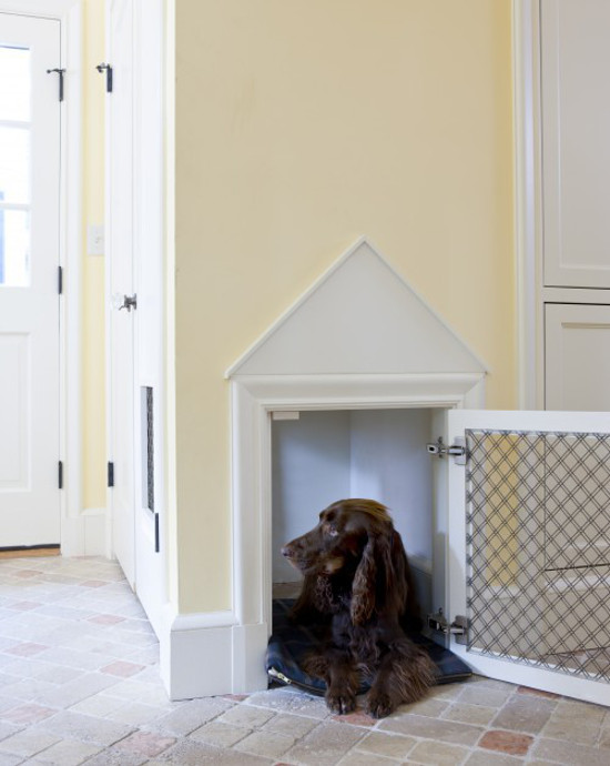 built in dog beds - custom dog bed with pediment and metal grill door in a new mudroom - LDA Architecture and Interiors via Atticmag
