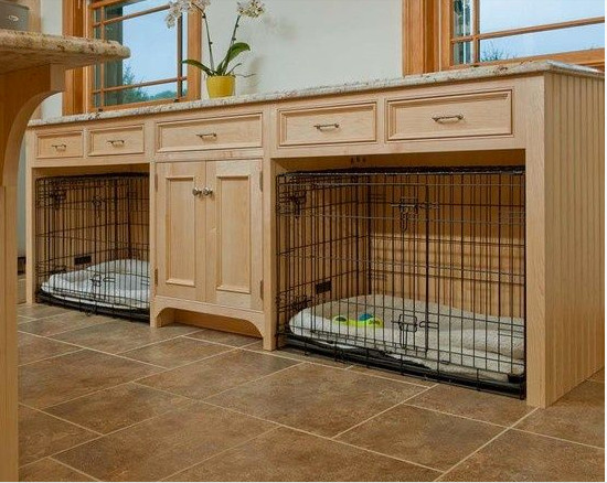 built in dog beds - suitcase style wire dog crates slide in custom built in mudroom cabinet - henrietta's hippo via atticmag