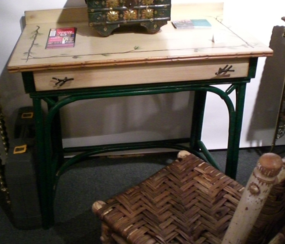 fishing camp - Hickory style painted wood desk and traditional rush-seat chair - Atticmag