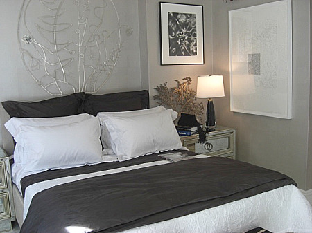 inspired design showhouse - Patrik Lonn bedroom with white coverlet with brown duvet at foot of bed - Atticmag