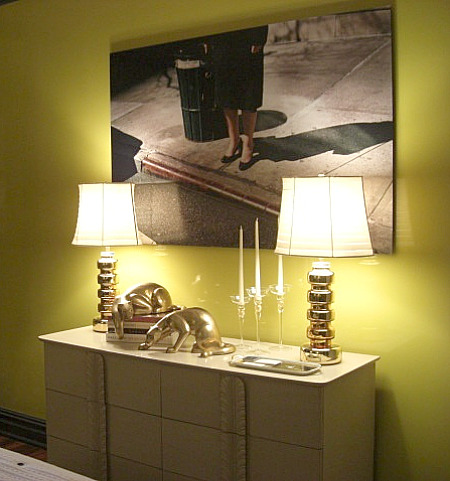 inspired design showhouse - chest similar to Dorothy Draper in Jennifer Flanders chartreuse bedroom - Atticmag