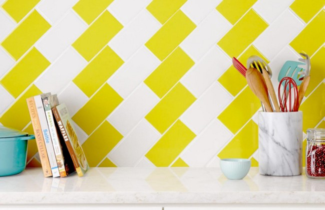 "kitchen tile backsplash ideas - white and colored 3 x 6"" subway tile backsplash design by Tiffany Brooks - hgtv via atticmag"