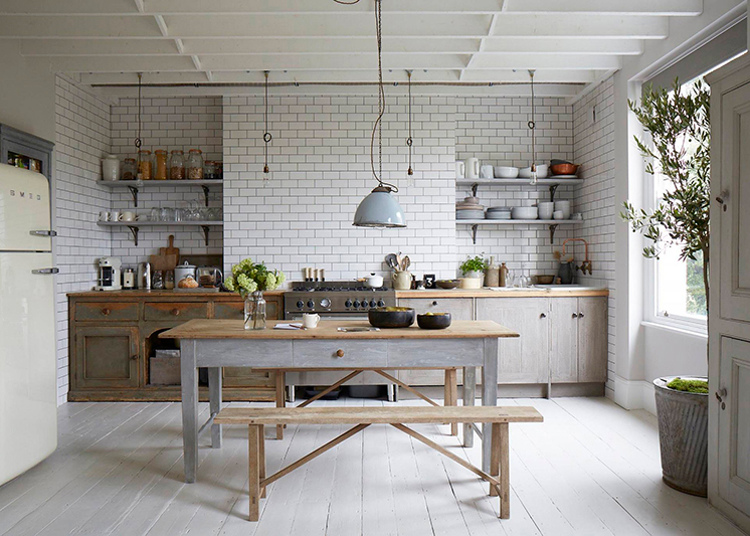 nordic color kitchens - neutral mix of whites and grays in a large kitchen - Est Magazine via Atticmag