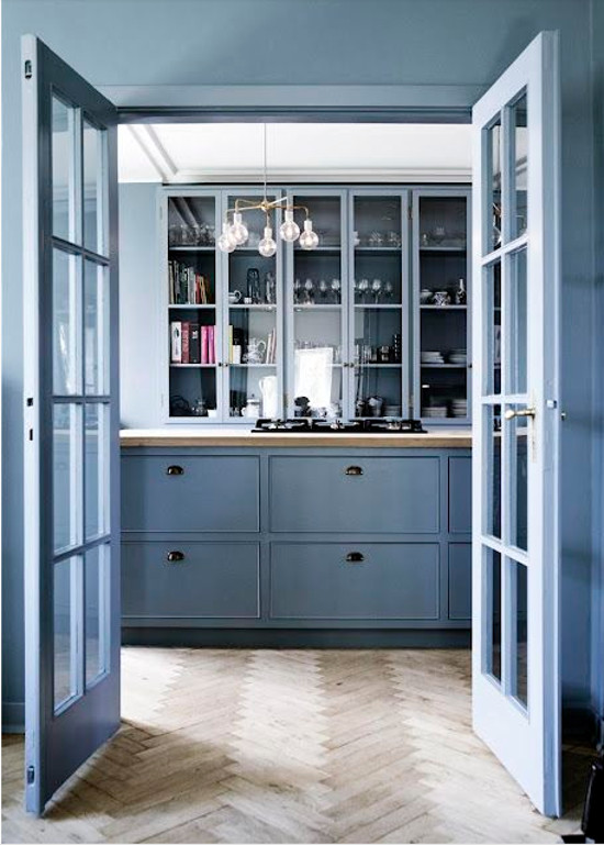 nordic color kitchen - 18th century sky blue kitchen with natural herringbone oak floor - cococozy via atticmag