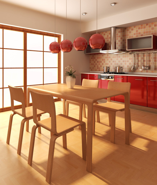 orange kitchens - showroom kitchen with contemporary red-orange cabinets, orange tone backsplash and orange pendant lamps - gardenweb via atticmag