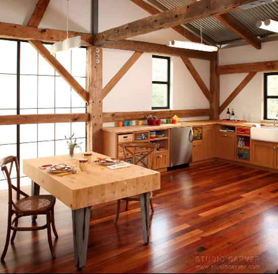 Salvage Kitchen Cabinets   Fruit And Beverage Crates Used For Drawers In A  California Barn Kitchen