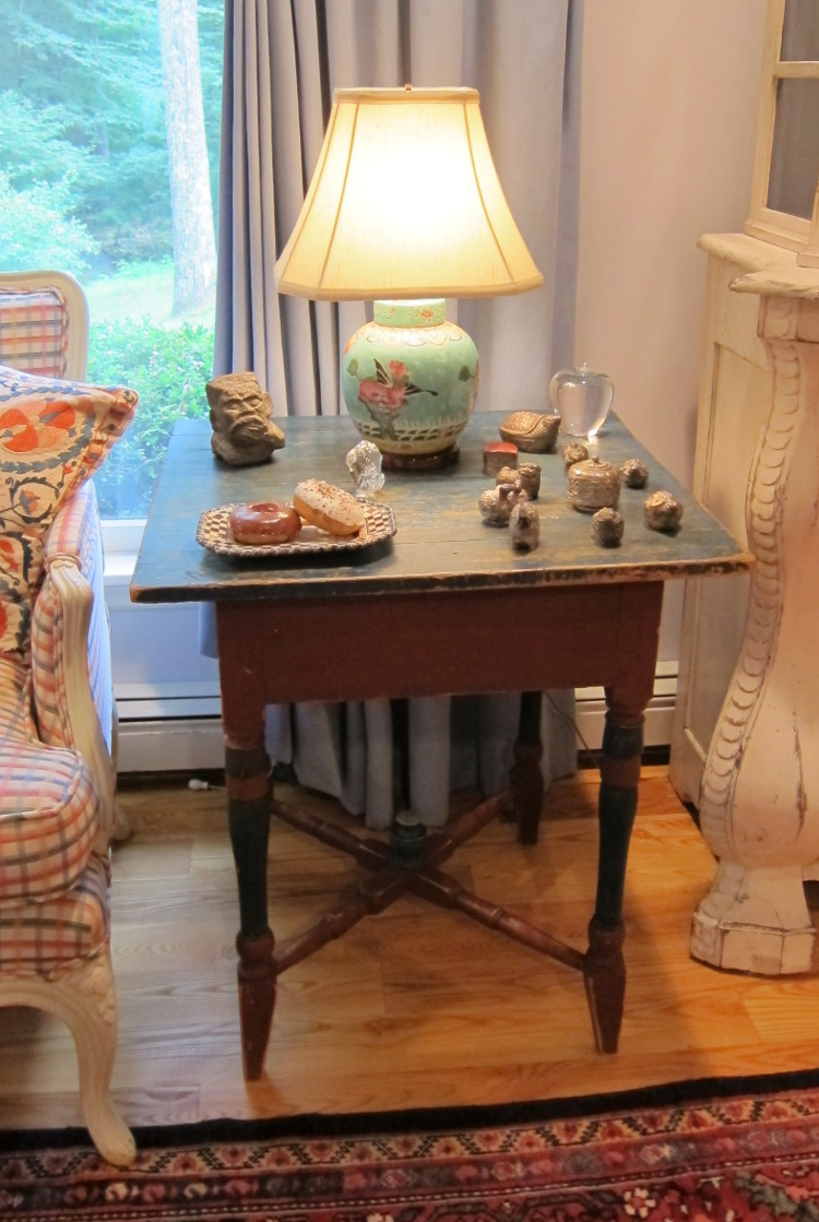 my house - antique Swedish painted side table that moved across the living room to make way for a sculpture - Atticmag