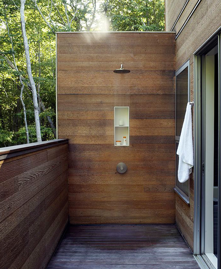 modern outdoor showers wood planked outdoor shower with pressure balance valve and built in niche