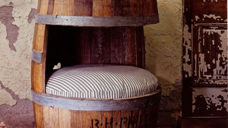 small pet beds - pet bed made from an oak wine barrel - Phoenix Home & Garden via Atticmag