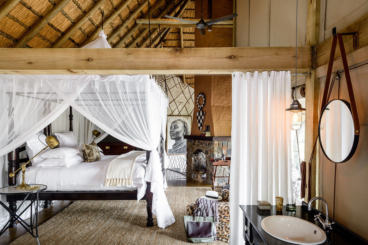 safari camp bedroom - Singita Ebony Lodge bedroom in South Africa's Sabi Sand Reserve - Singita.com via Atticmag