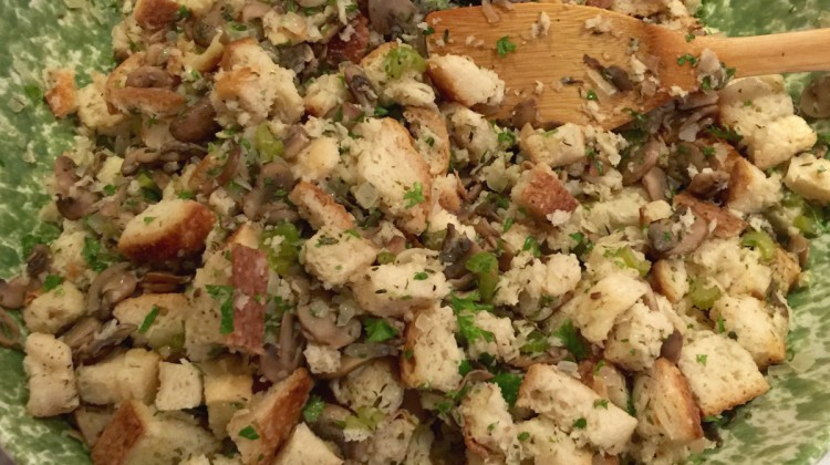 sourdough mushroom turkey stuffing - sourdough bread, mushrooms, aromatic vegetables and herbs make a rich savory stuffing for turkey - atticmag.com