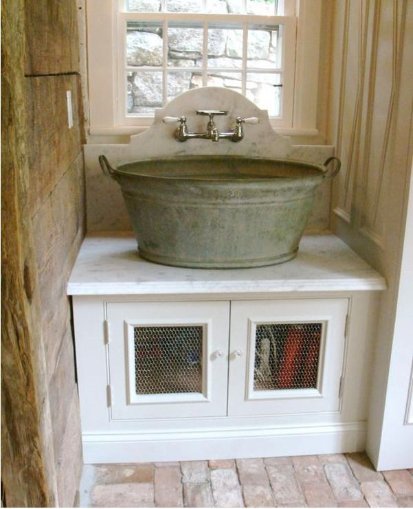 Custom Laundry Room Washtub Basin Sink With A Marble Counter And Backsplash Salisbury Artisans