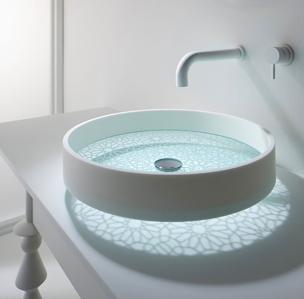 Fancy exotic bathroom sinks OmVivo Motif etched glass bottom vessel sink in Kaleidoscope OmVivo